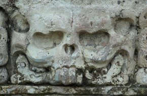 A detail from aptly-named Temple associated with Skull at Palenque